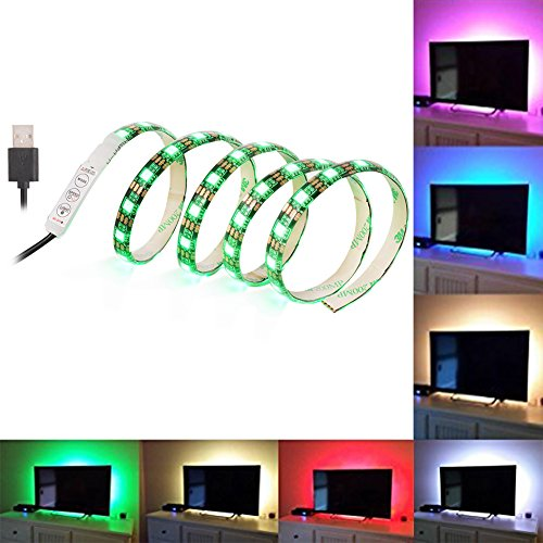 SOLLED Bias Lighting for HDTV 60 LEDs TV Backlight, 3.28Ft Ambient TV Lighting Multi-Color Flexible 5050 RGB USB LED Strip, Best for Flat Screen/HDTV/Desktop PC Monitor Background Lighting