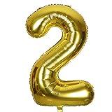 SMARCY Ballon Gonflable Chiffre 2 pour la Décoration d'anniversaire 2 Ans Doré