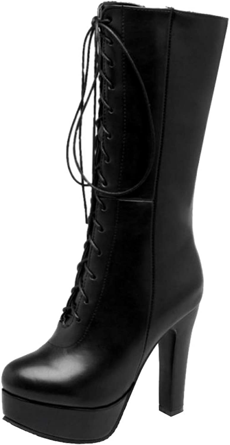 Melady Women Fashion Platform Mid Boots Zipper