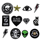 12pcs Black Patch Alien Appliques for Clothing Iron-on or Sew-on Embroidered Patches Motif...