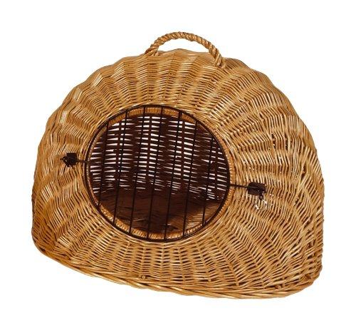 Dogit Korbhöhle mit Gitter, für den Transport von Hunden oder Katzen, aus Weide geflochten, 60x53x54cm, braun