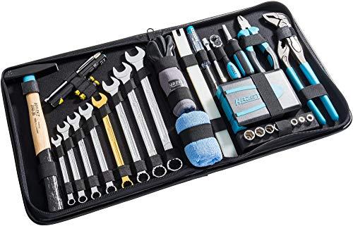 """Hazet Premium Ledertasche (Flexible Einsatzmöglichkeiten für Haushalt und Werkstatt, inkl. Hammer, Zange, Ring-Maulschlüssel, Bit-Satz, 1/4"""" Umschaltknarre, 64 Werkzeuge) 1520/64"""