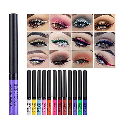 Revestimiento de color de ojos 12 colores / set Eyeliner impermeable, delineador de ojos líquido mate, conjunto de ojos líquido fluorescente impermeable a prueba de largo para fiesta