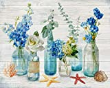 Paint by Numbers for Adults Beginner, TUMOVO Mason Jar Floral Adult Paint by Number Kits On Canvas, Plant DIY Paint by Numbers Kit Blue Flower Acrylic Painting for Idea Gift, 16 x 20 inch(Frameless)