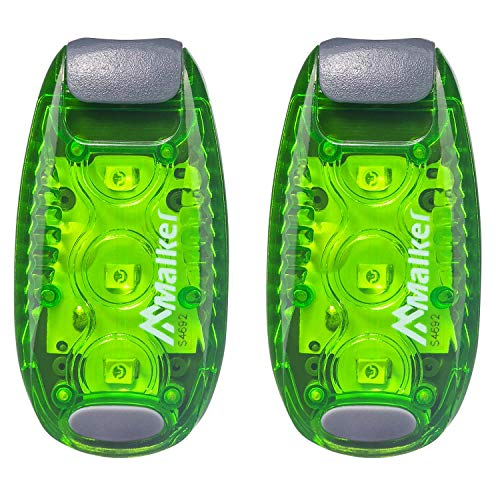Malker LED Blinklicht Sicherheitslicht Set Sicherheit Licht für Kinder Schulranzen Nachtläufer Bergsteiger Hunde Leuchtanhänger mit Batterien Clip Dauerlicht und Blinklicht 2er(Grün)