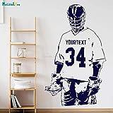 ASFGA Lacrosse Name und Digitale Wandtattoos für Kinder Jungen Zimmer abnehmbare Kunst Wandbild Schlafzimmer Club 42x69cm