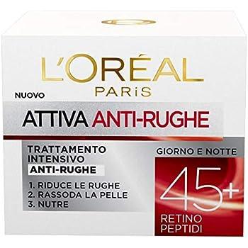 L'Oréal Paris Crema Viso Anti-Rughe Attiva 45+, Trattamento Intensivo Anti-Rughe, Rassoda e Nutre la Pelle, 50 ml, Confezione da 1