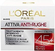 L'Oréal Paris Crema Viso Anti-Rughe Attiva 45+, Trattamento Intensivo Anti-Rughe, Rassoda e Nutre la Pelle, 50 ml,...