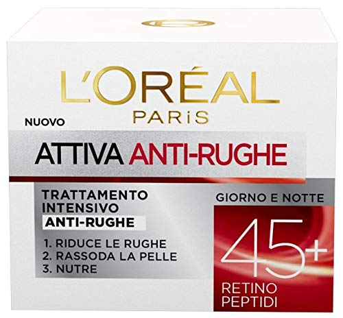 L'Oréal Paris Crema Viso Anti-Rughe Attiva 45+, 50ml