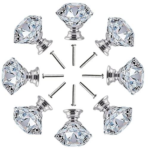 8 Pcs Pomos Cristal,Tiradores Cristal para Cajones,Pomos y Tiradores de Muebles Perilla...