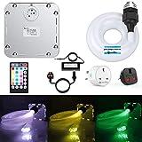 JennyHedy 32W luz de cortina de cascada de fibra óptica,luz de inducción de música Twinkle RGB,punto de inflamación 400pcs 1.0mm 3m de fibra+control remoto+diamante+cristal+enchufe inteligente