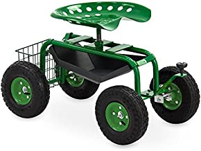 Best Choice Products Mobile Rolling Garden Work Seat w/Tool Tray, Basket - Green