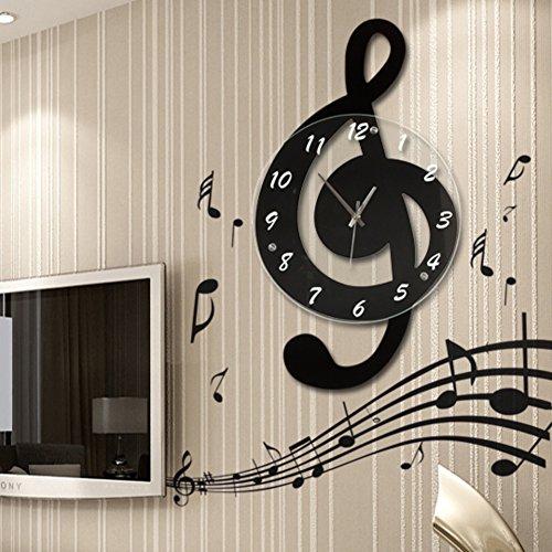 TKURDF Reloj de Pared Grande nÓrdico de Nota Musical de mÚsica,Cuarz