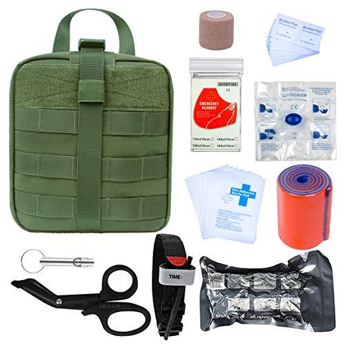 GRULLIN Botiquines de Primeros Auxilios 39 Piezas Portatil Vendaje israelí torniquete tactico Botiquin Supervivencia, Kits de Primeros Auxilios para Exteriores, Sala, automóvil(Army Green)