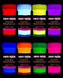 neon nights 8 x Pintura Resplandeciente En La Oscuridad Fosforescente Autoluminosa Color...