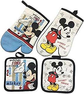 Mickey Mouse Microwave Glove Potholder Bakeware Blue and White 100% Cotton Oven Mitts and Potholder mat for BBQ or Kitchen (3)