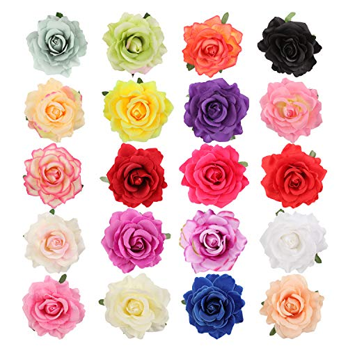 bluesees Rose Flower Hair Clips, 20pcs Women Flower Hair Accessories Wedding Artificial Hair Flower Clip Buttonhole Corsage Brooch Pins Accessories for Lady Girl Bridal