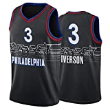 TFGVC 76ers 3# Iverson Baloncesto Jersey, Nuevo Chaleco de Baloncesto sin Mangas para Hombre, Transpirable y Secado rápido de Moda Camiseta de Baloncesto Black-M