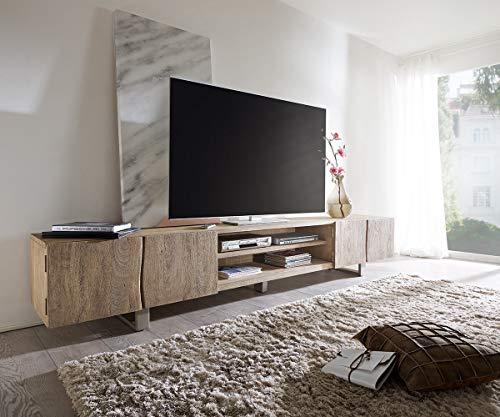 DELIFE Fernsehtisch Live-Edge Akazie Champagner 300 cm 4 Türen 2 Fächer Lowboard