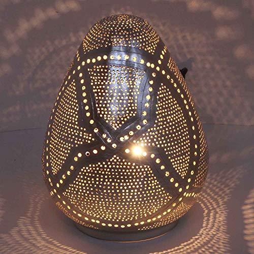 "Casa Moro | Lámpara de mesa oriental ""Rania D18"", plata en forma de gota con casquillo E14, lámpara de pie marroquí de latón bañado en plata, artesanía de Marruecos | ESL2120"