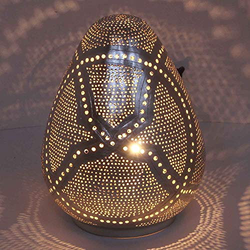 Casa Moro | Lámpara de mesa oriental 'Rania D18', plata en forma de gota con casquillo E14, lámpara de pie marroquí de latón bañado en plata, artesanía de Marruecos | ESL2120