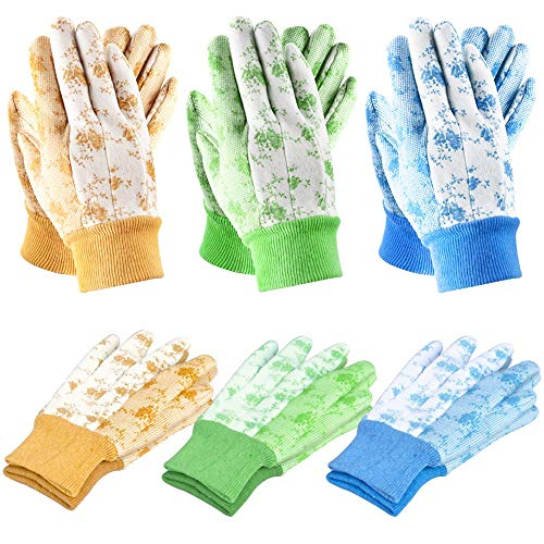 SEUROINT Gardening Gloves for Man and Woman Working Gloves for Small Yard Tools for Gardening (6 Pairs Per Package) PVC Dots Cotton Work Gloves Medium Size