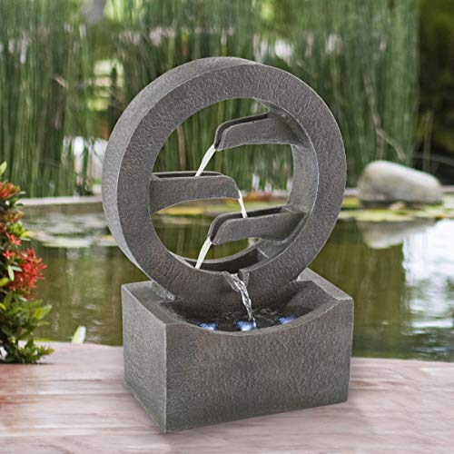 Pure Garden 50-LG1218 Round Cascade Fountain- 4 Tier Polyresin Waterfall with LED Lights, Silver
