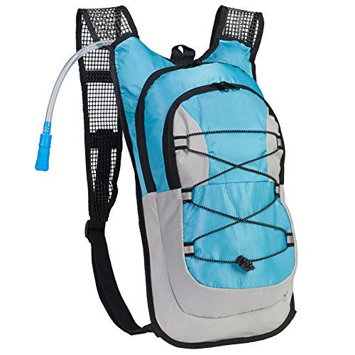 Equipped Outdoors Survival Hydration Pack  2 Liter Water Bladder with Extra Large Storage Compartment Blue