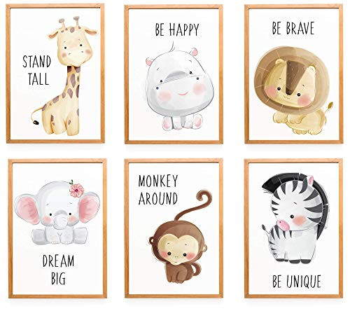 WIETRE® Set of 6 Pictures Animals Nursery Baby Room Decoration Picture Boy Girl Poster DIN A4 Forest Animals Safari Africa Animals Animal Poster Decoration - No Frame