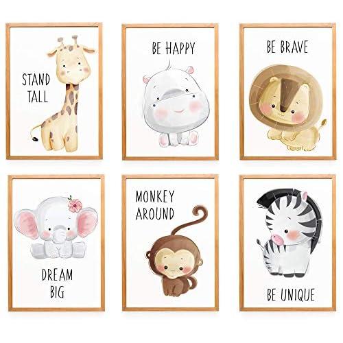 WIETRE® - Set di 6 immagini decorative per cameretta dei bambini, formato DIN A4, con animali della foresta, safari, Africa e animali, senza cornice