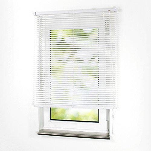 Sonnenschutz-HH - PVC/Kunststoff-Jalousie Breite 90 x 160 cm Höhe in Farbe weiß - Lamellenbreite 25 mm - Kunststoff Jalousien Jalousette Fensterjalousie Fenster-Rollo Kunststoffjalousie