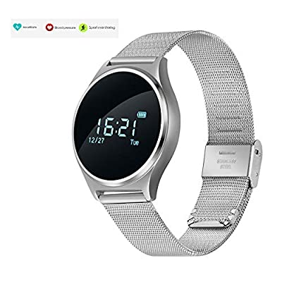 TKSTAR Sports Smartwatch Waterproof with Heart Rate Monitor, Sleep Monitor Watches Blood Pressure, Pedometer Watches for Men Women Steel Strap