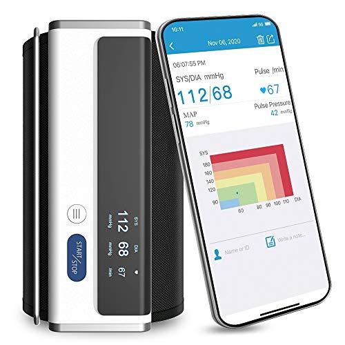 Armfit Tensiómetro de Brazo Bluetooth, Tensiómetro Digital con Brazalete Grande, Aparato para Medir la Tension Arterial Inalámbrico Portátil con APP para iOS y Android, Apple Health Integrado