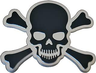 Black on Silver Crossbones Skull Cross Bones Skeleton Pirate Jolly Roger Real Aluminum Auto Emblem Badge Nameplate