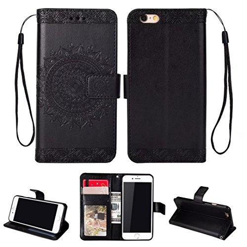 iPhone 5/5S/5SE hoesje PU lederen portemonnee reliëf Mandala bloem standaard Flip case credit card slot beschikt over beschermende DECHYI case, Portemonneehouder, Zwart, iPhone 6/6s Plus (5.5