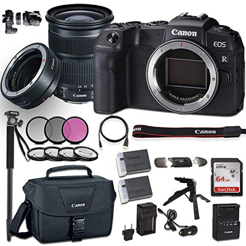 Canon EOS RP Mirrorless Digital Camera with EF 24-105mm f/3.5-5.6 is STM Lens Bundled with Deluxe Accessories Like Memory Card, Steady Grip Tripod, Monopod and More… (Renewed)