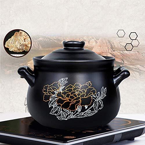 WCNMD Pote de Arcilla Redondo Cerámica para Hornear Plato Flor de Arcilla de Arcilla Olla de Sopa con Tapa Cocina Lenta Pote Resistente al Calor Negro 3.7L (Color : Black, Size : 4.75L)