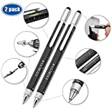 Screwdriver Pen Pocket Multi Tool Kit 6 in 1 - (2 Pack) Multi-Functional DIY Tool Set with Screwdriver, Stylus, Level Tool, Screwdriver Set & Tool Ruler with Phillips Flathead Bit - Perfect Mens Gift