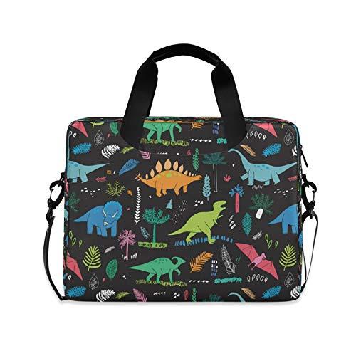 Yulife Tropical Palm Leaves Dinosaur Laptop Bag Sleeve Case for Women Men Animal Dino Briefcase Tablet Messenger Shoulder Bag with Strap Notebook Computer Case 14 15.6 16 Inch for Kids Girls Business