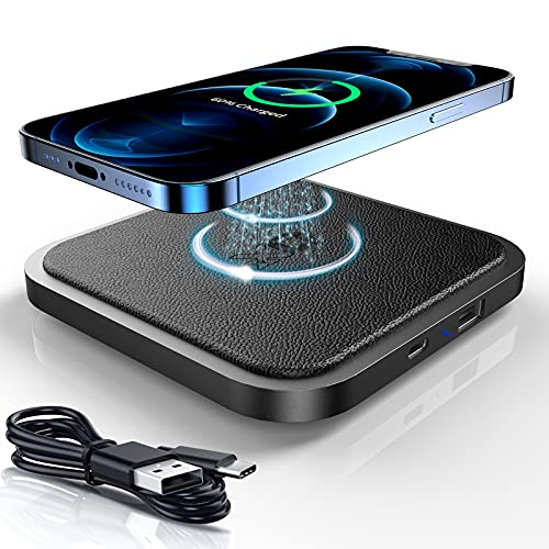 OXX Wireless Charger Pad, 15W Qi Certified Wireless Fast Charging Pad With USB & C Port Charger, PU Leather Charging Mat For iPhone 12-8, Samsung Galaxy S21-S6, Note20-Note8, All Qi Phones(No Adapter)