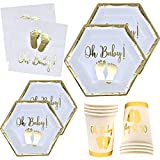 Oh Baby Shower Party Supplies Tableware Set with Gold Foil Footprint Includes 24 9' Plates 24 7' Plate 24 9 Oz Cups and 50 Lunch Napkins Disposable Paper Goods for Boy Girl Neutral Gender Reveal Decor