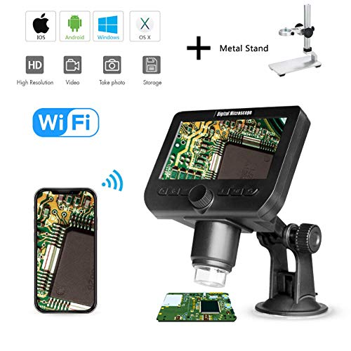 1000X LCD Digital Microscope, Bysameyee WiFi Wireless 4.3 Inch 1080P Magnifier Zoom Camera with 8 LED Lights Rechargeable Battery for Coins Collection Repairing Soldering (Digital Microscope)