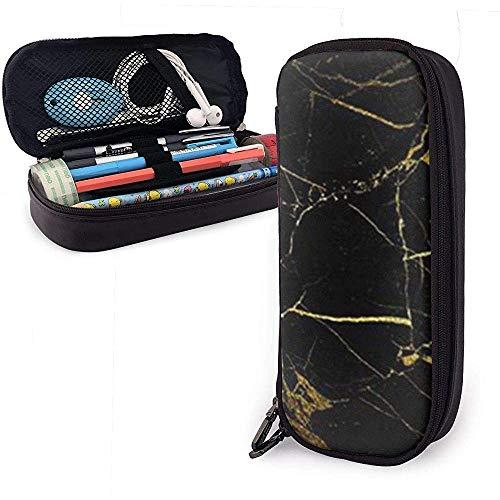 Gouden en zwart behang schattig pennenetui lederen tas etui etui met dubbele ritssluiting houder doos voor meisjes jongens volwassenen