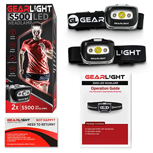51ZNLDKdWCL - GearLight LED Headlamp Flashlight S500 [2 PACK] - Running, Camping, and Outdoor Headlamps - Best Head Lamp with Red Safety Light for Adults and Kids