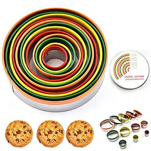 Ronde koekjesvormen, 12 stuks, roestvrij staal, eenvoudig te bedienen en anti-aanbaklaag voor koekjes, scones, gebak, deeg, voed, brood, 2,8 ~ 11,8 cm