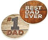 P. Graham Dunn Keramik-Untersetzer mit Aufschrift Best Dad Ever, Vintage-Stil, Holzoptik, 2 Stück