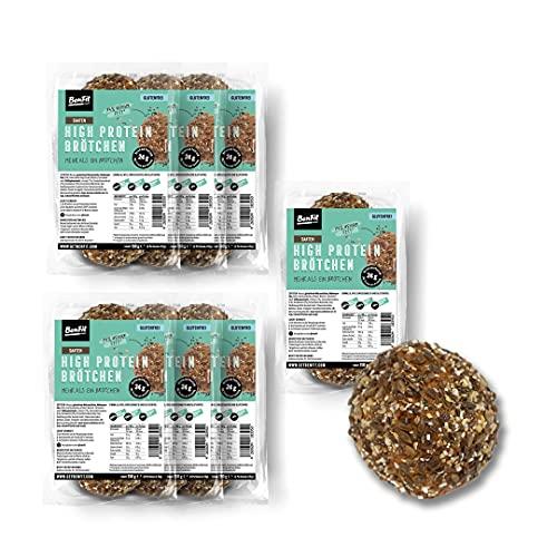 BenFit High Protein Vollkorn Brötchen glutenfrei – 7 x 150 g – glutenfreies Eiweiß-Brötchen – ideal für eine eiweißreiche, fettarme, kalorienreduzierte und zugleich glutenfreie Ernährung