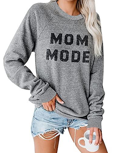 Blooming Jelly Womens Crewneck Sweatshirt Long Sleeve Raglan Letter Print Terry Casual Cute Pullover Top(M,Grey)