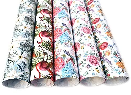 Premium Sommer Geschenkpapier Öko Recycling Papier 5 Rollen a` 2m x 70cm Natur Geschenkverpackung für Geburtstag Party Fete Kraftpapier