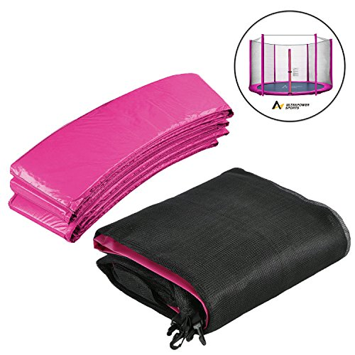 ULTRAPOWER SPORTS 10FT 8 poles Net & Pad Set Replacement Trampoline Spring Cover Padding Pads And Safety Net - Pink
